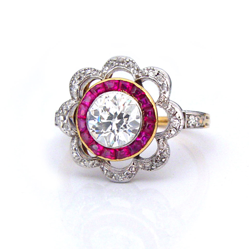 SOLD - A French Belle Epoque Diamond & Ruby Ring