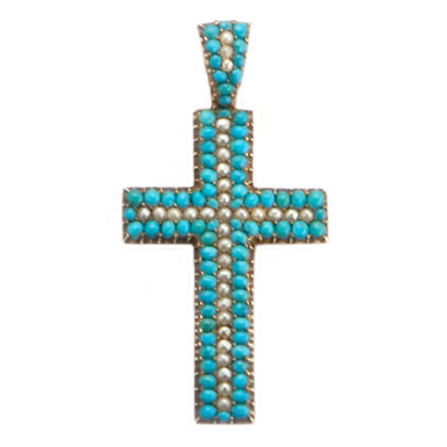SOLD - An Antique Victorian English Gold, Turquoise & Pearl Cross Pendant