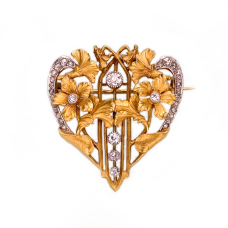 SOLD - A French Art Nouveau Gold & Diamond Brooch