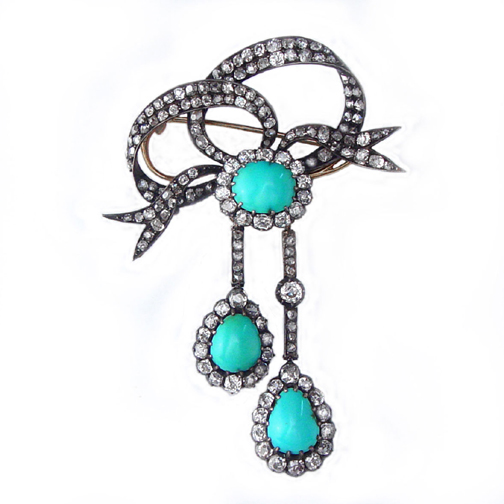 SOLD - An Antique Victorian Turquoise & Diamond Brooch