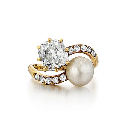 SOLD - An Antique Victorian Diamond & Pearl Ring