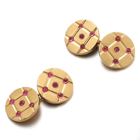SOLD - A Pair of American Retro Ruby & Gold Cufflinks