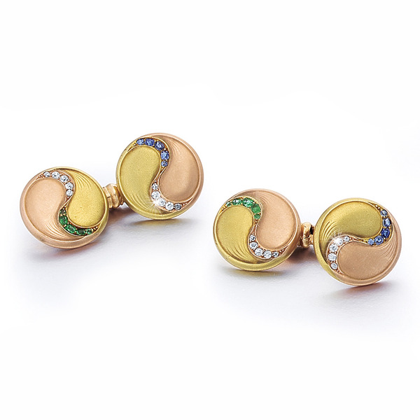 A Pair of Austrian Belle Epoque Gold & Colored Stone Cufflinks