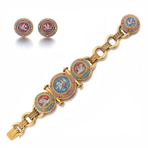 SOLD - An Antique Italian Micromosaic Bracelet and Earring Suite