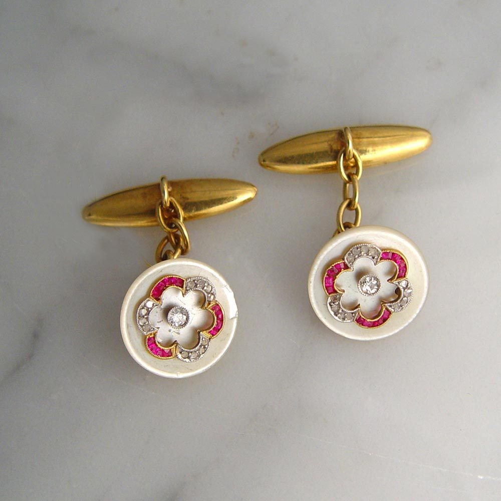 A Pair of Antique Edwardian Mother-of-Pearl Cufflinks
