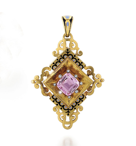 SOLD - An Antique English Victorian Pink Topaz and Gold Pendant