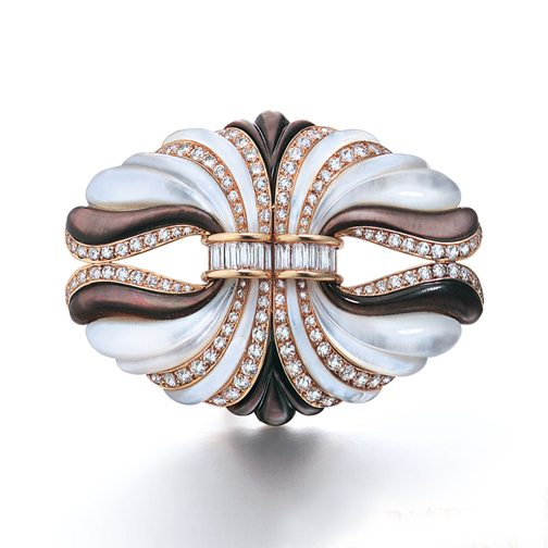 A Pair of French Mother-of-Pearl and Diamond Clips by Mauboussin