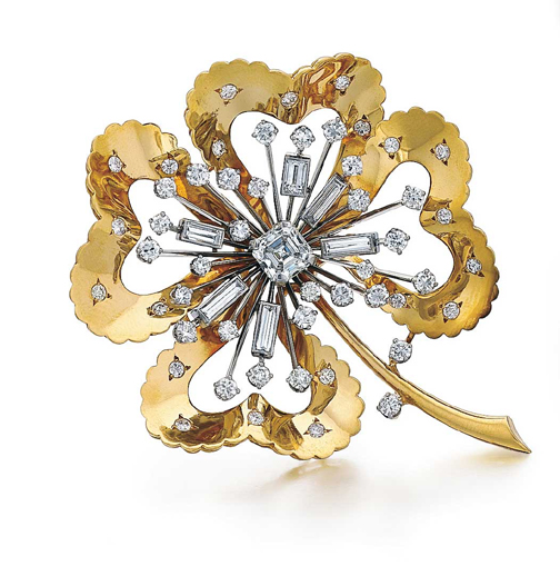 SOLD - A Fine Diamond-Set Four Leaf Clover Brooch by Van Cleef & Arpels