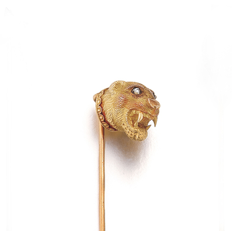 A Victorian American Gold Lioness Head Stickpin by Tiffany & Co