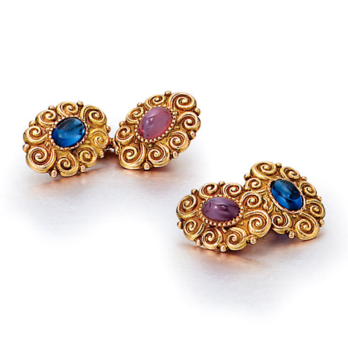 A Pair of American Art Nouveau Ruby and Sapphire Cufflinks