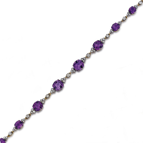 An Antique Russian Amethyst and Diamond Necklace