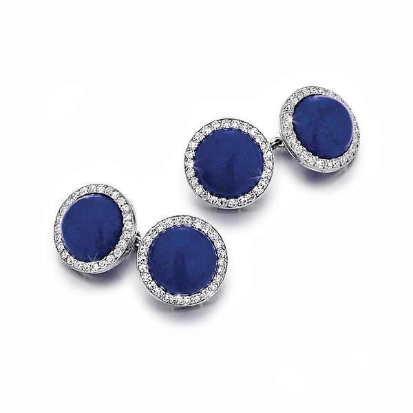 SOLD - A Fine Pair of Art Deco Lapis and Diamond Cufflinks by Cartier