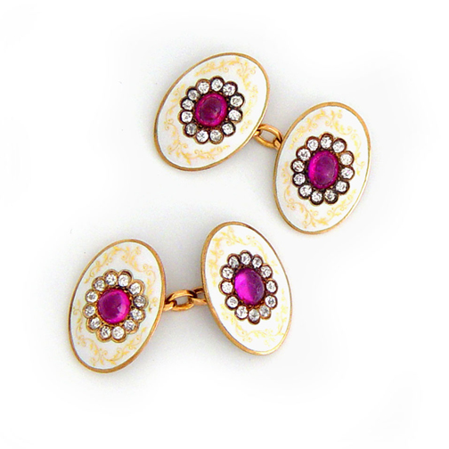 A Pair of Edwardian Diamond and Colored Stone Cufflinks