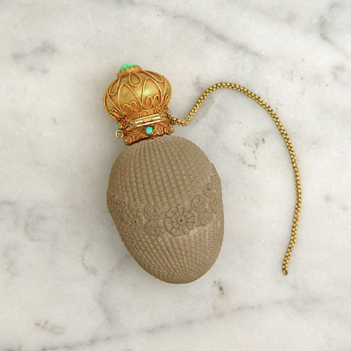 An Antique Gold & Turquoise-Mounted Perfume Bottle