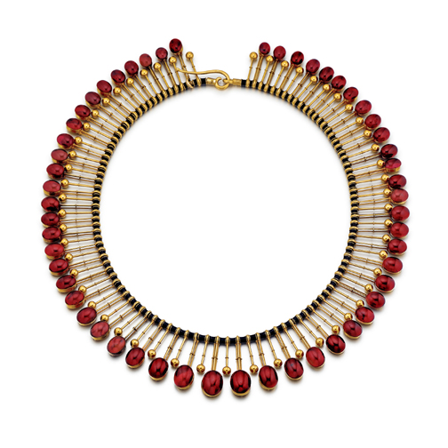 An Antique English Victorian Garnet Fringe Necklace