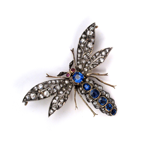A Victorian Sapphire & Diamond Insect Brooch
