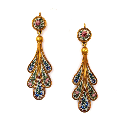 A Pair of Antique Micromosaic Earrings