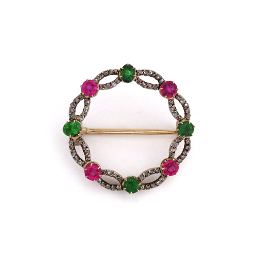 A Victorian Antique Ruby & Demantoid Garnet Brooch