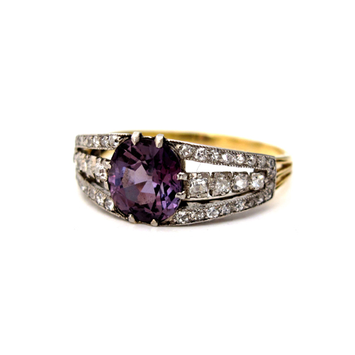 An Antique Alexandrite and Diamond Ring