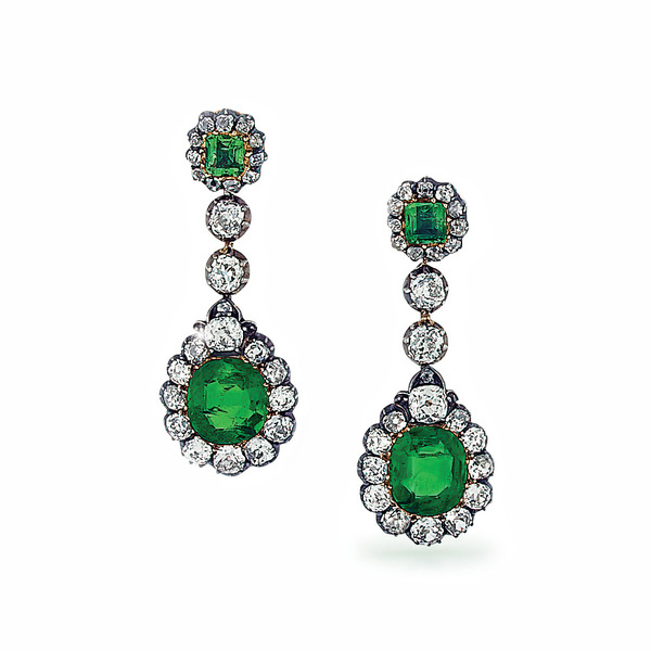A Pair of 19th Century Emerald and Diamond Cluster Pendant Earrings
