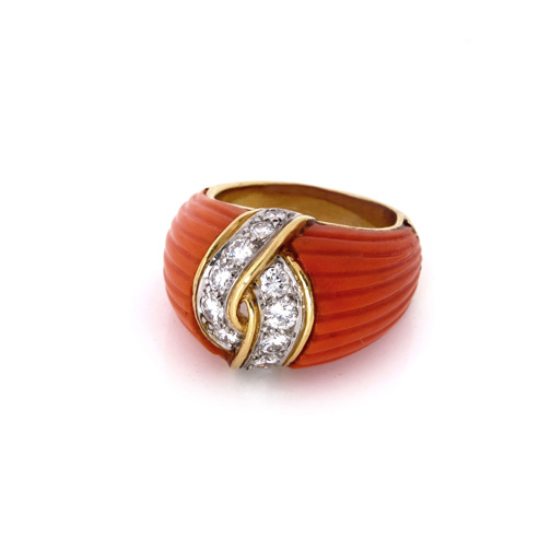 SOLD - A Coral and Diamond Ring by Van Cleef & Arpels