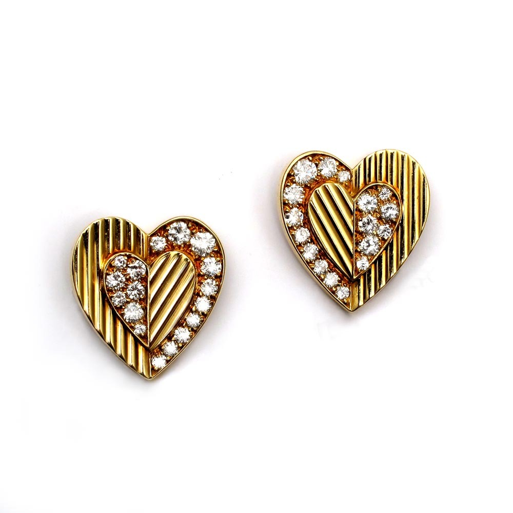 SOLD - A Pair of Gold and Diamond Earrings by Cartier