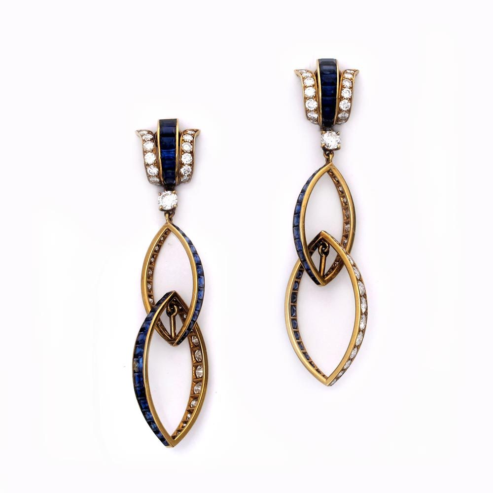 SOLD - A Pair of Diamond and Sapphire Drop Earrings
