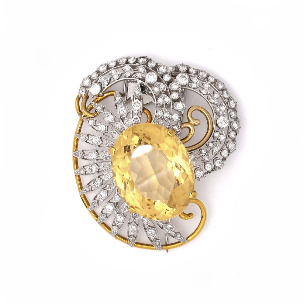 A Citrine & Diamond Brooch by Seaman Schepps