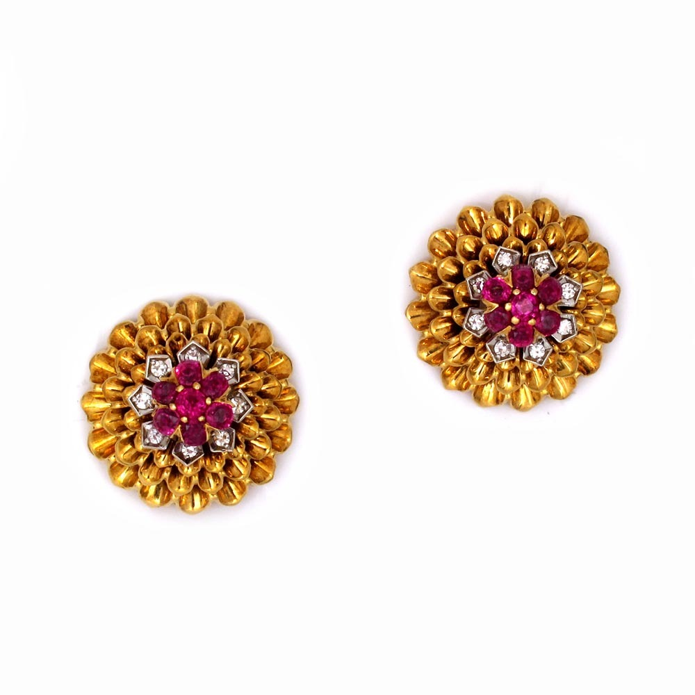 A Pair of Ruby & Diamond Earrings by Tiffany & Co.