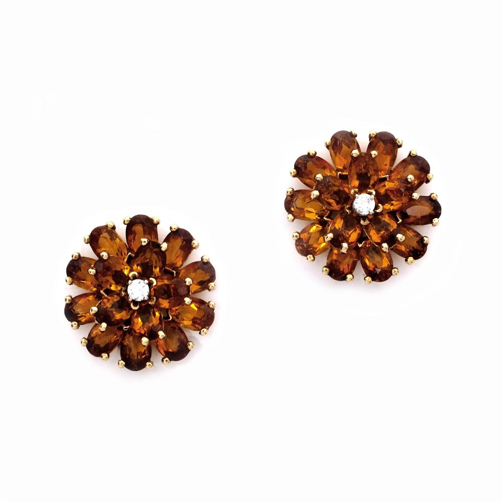 A Pair of Citrine and Diamond Earrings by Tiffany & Co