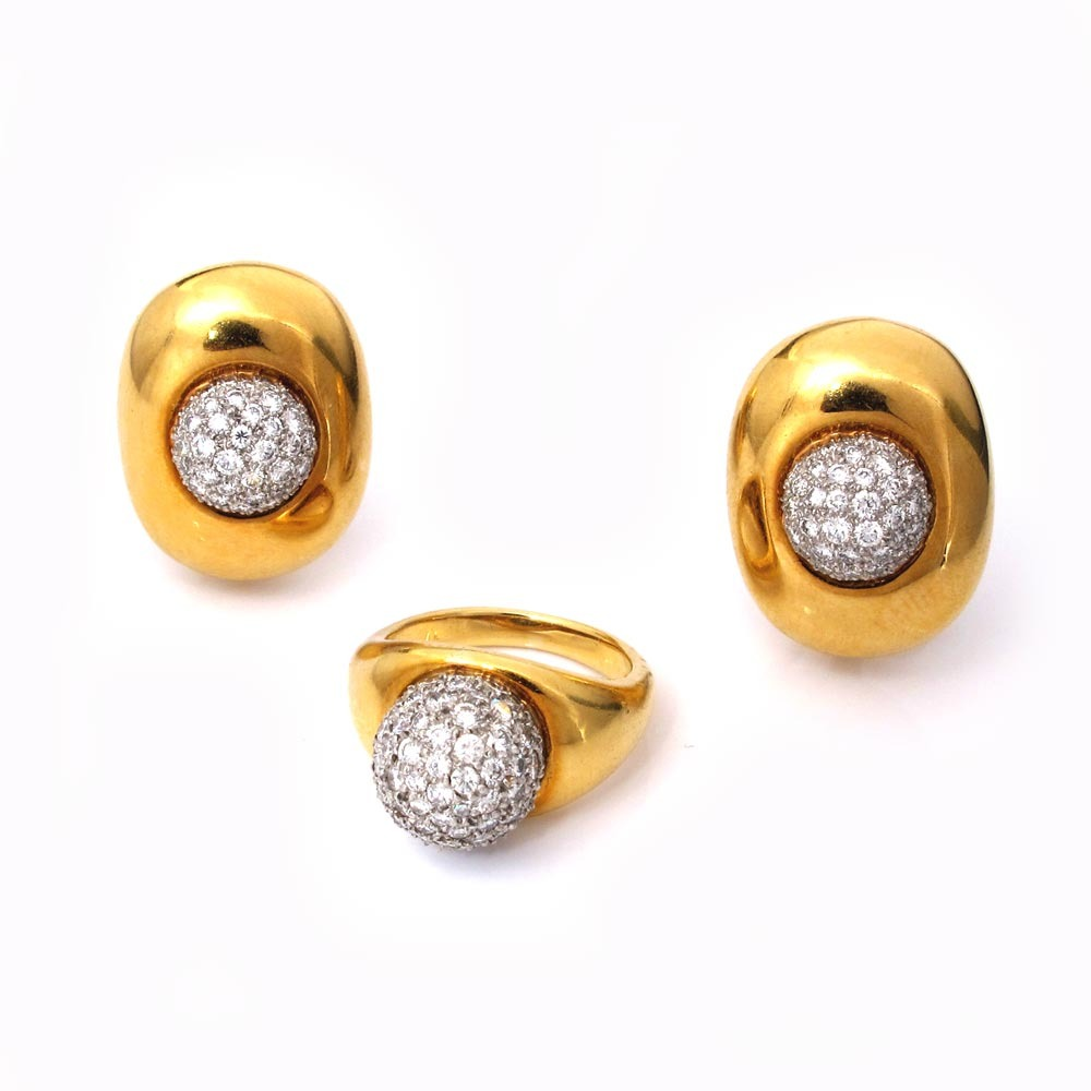 A Pair of Diamond Pave Ball Earrings and Ring by Paloma Picasso for Tiffany & Co.