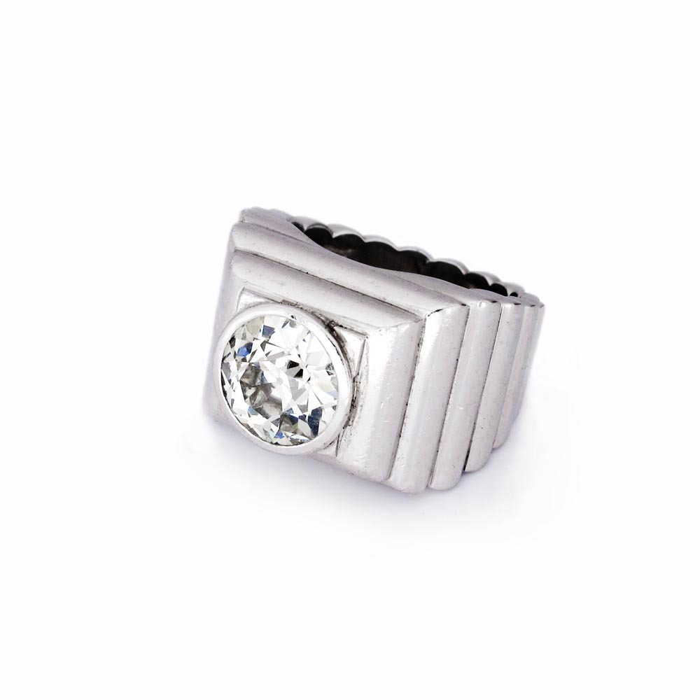 "SOLD Diamond and Platinum ""Bibendum Facette"" Ring by Suzanne Belperron"