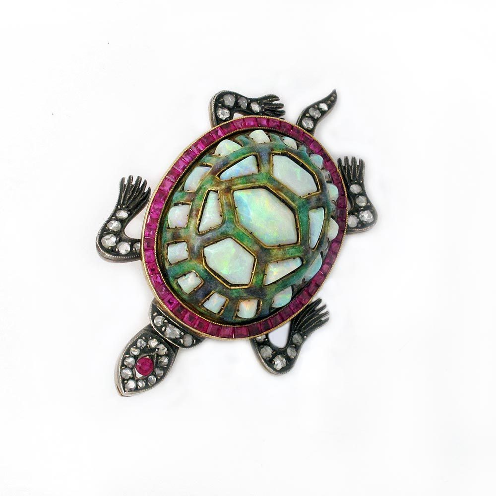 SOLD - An Antique Opal Turtle Brooch