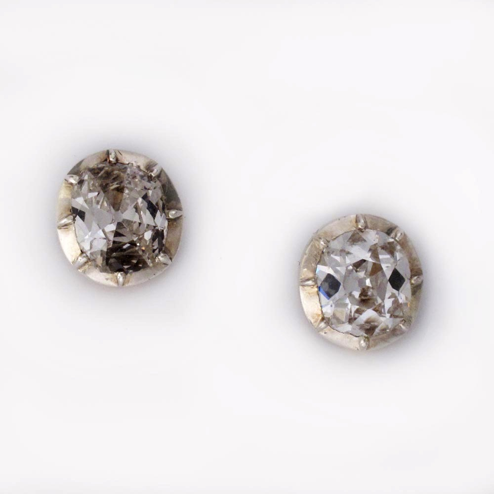 A Pair of Antique Diamond Stud Earrings