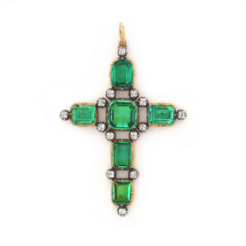 SOLD - An Antique Emerald and Diamond Cross