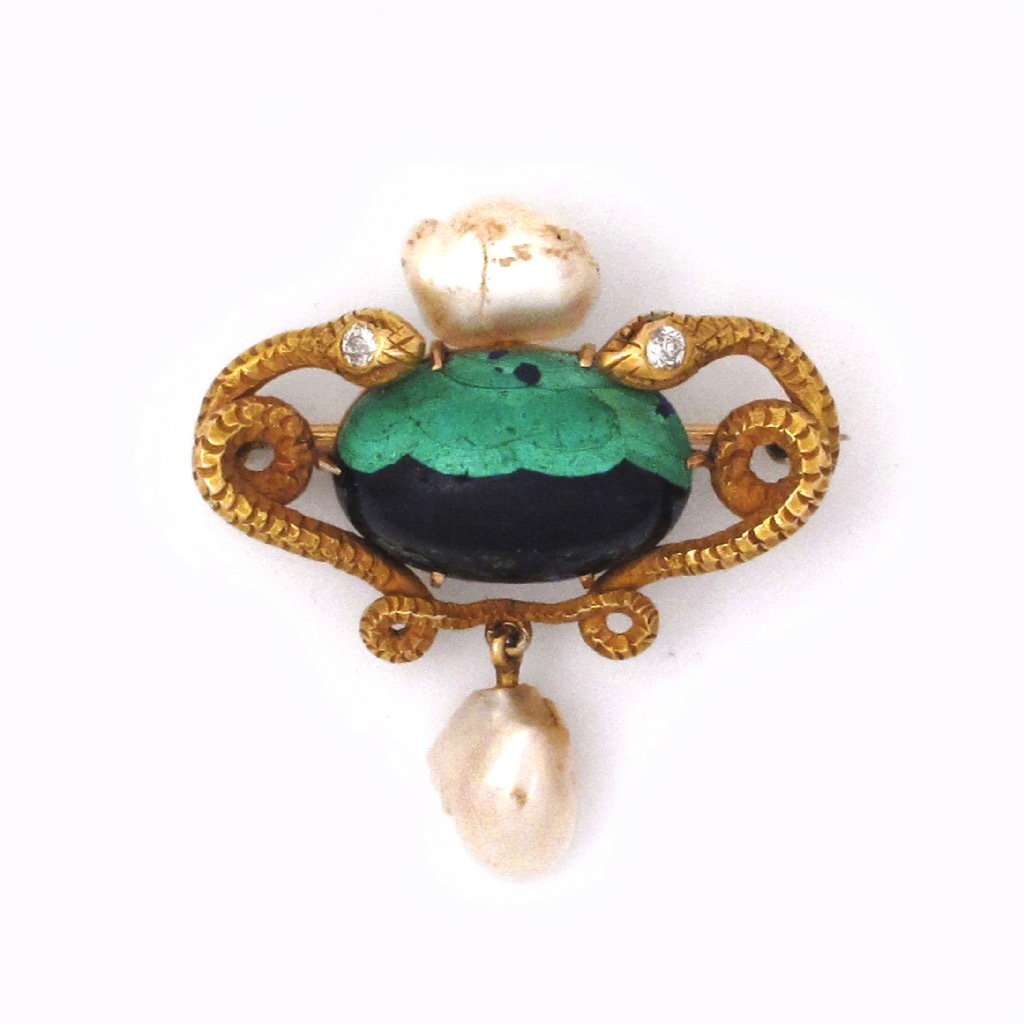 SOLD - An Art Nouveau Azurite & Pearl Brooch