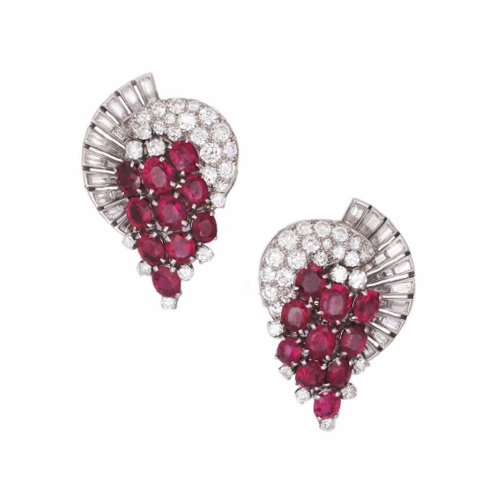 SOLD - A Pair of Ruby and Diamond Earrings