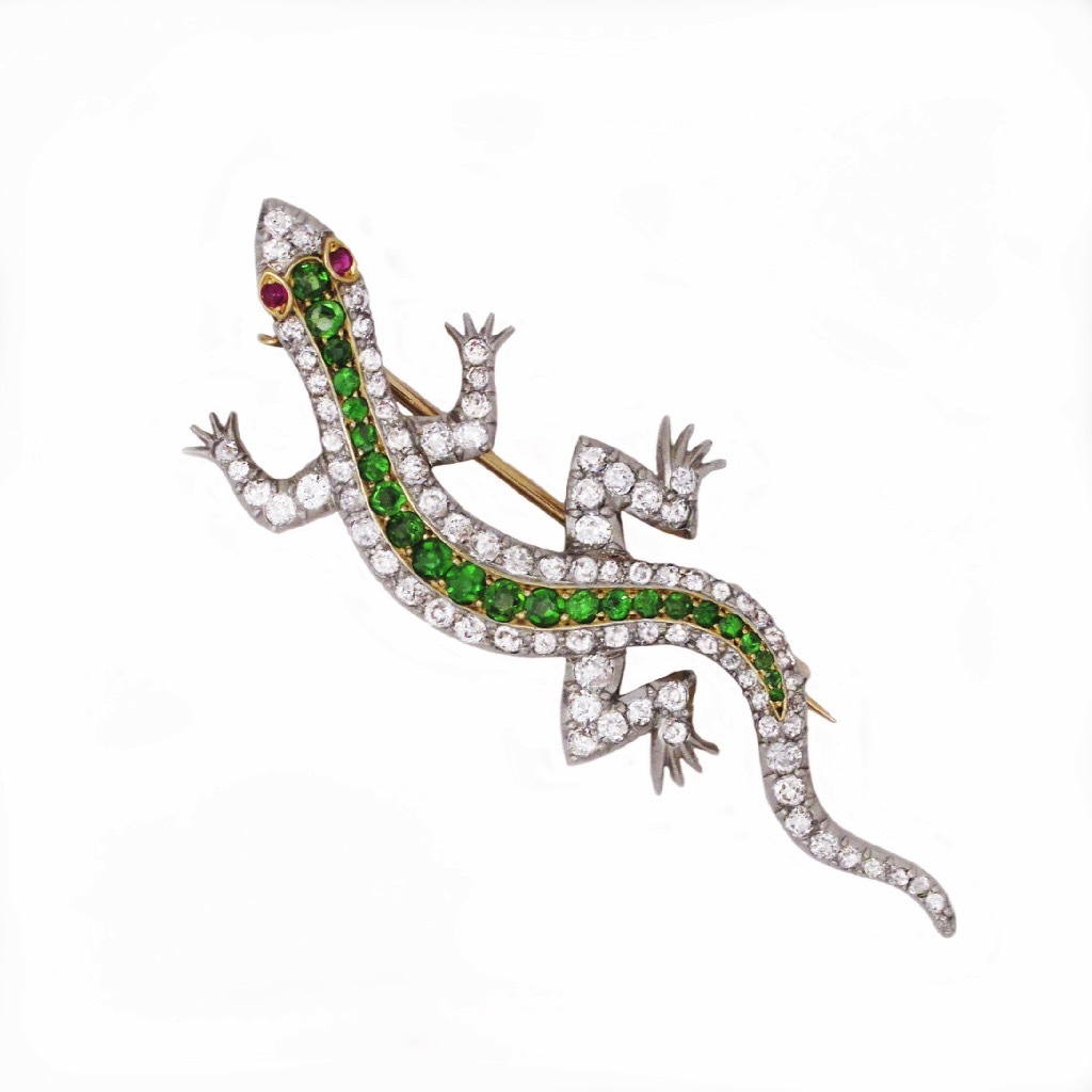 SOLD - An American Edwardian Diamond and Demantoid Garnet Salamander Brooch