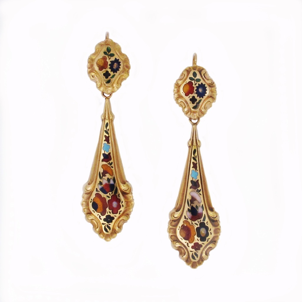 HOLD - A Pair of French Antique Gold and Enamel Drop Earrings
