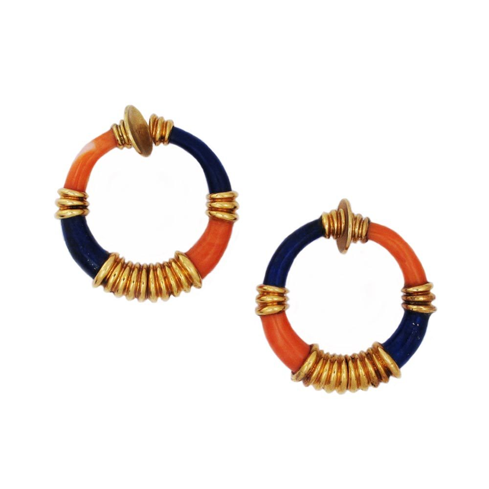 A Pair of French Estate Lapis and Coral Earrings