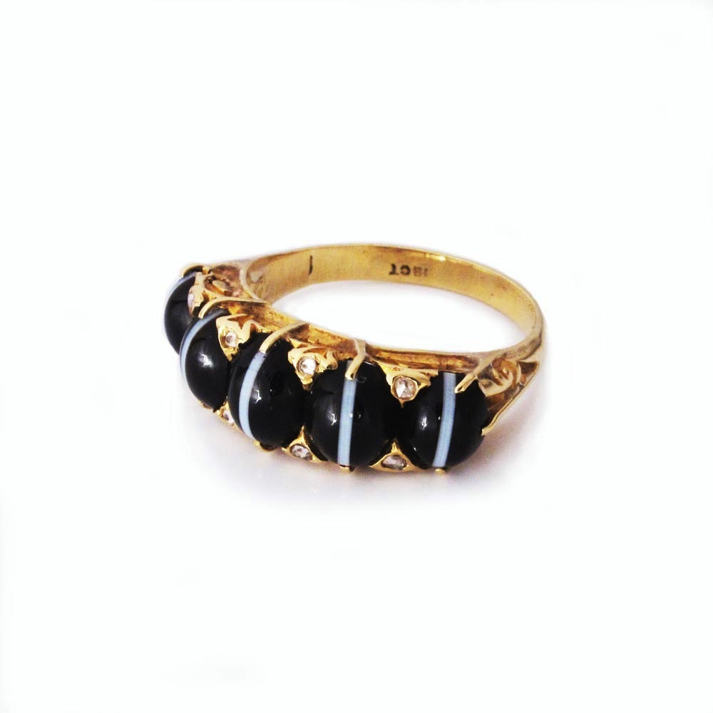 SOLD - An Antique English Banded Agate Ring