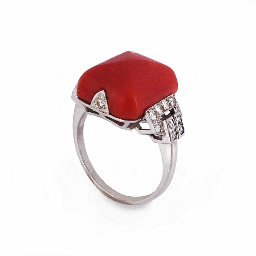 SOLD - An Art Deco Coral & Diamond Ring
