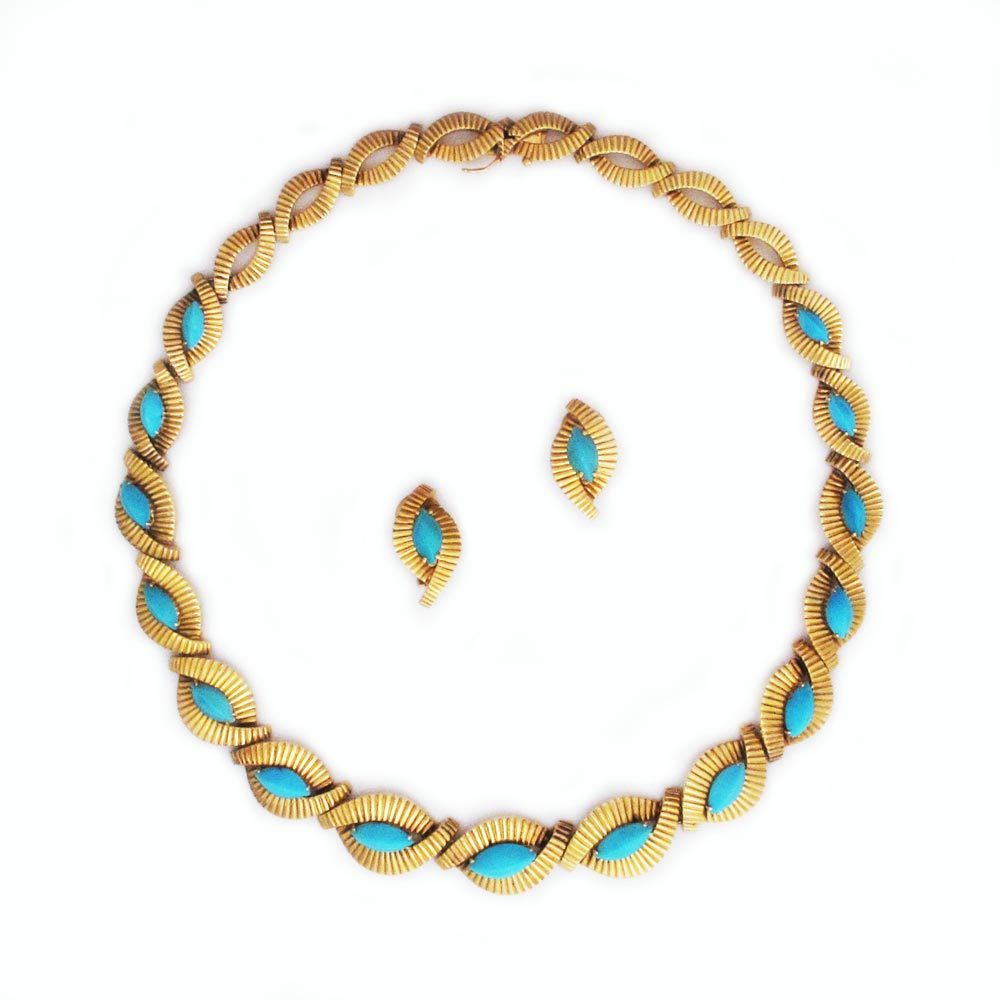 Top A French Gold and Turquoise Necklace and Earring Suite RC67