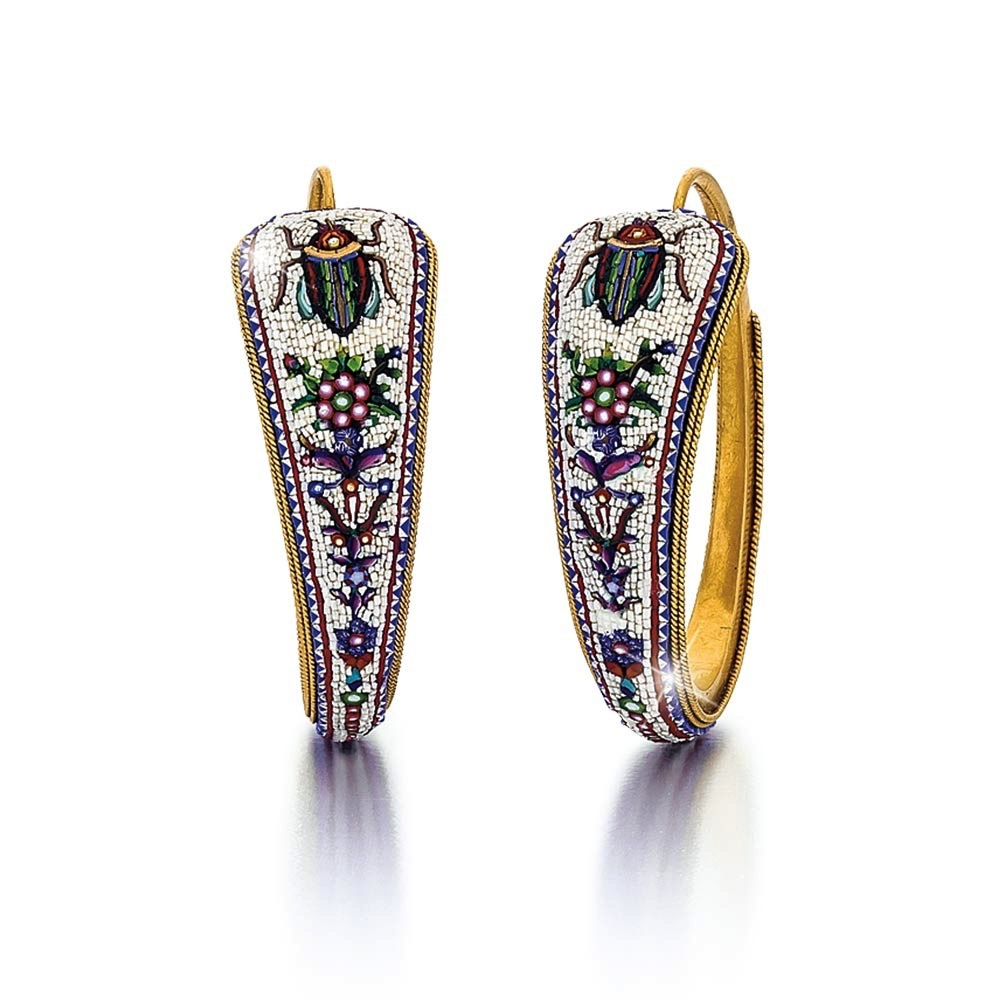 A Pair of French Egyptian Revival Gold Micromosaic Hoop Earrings