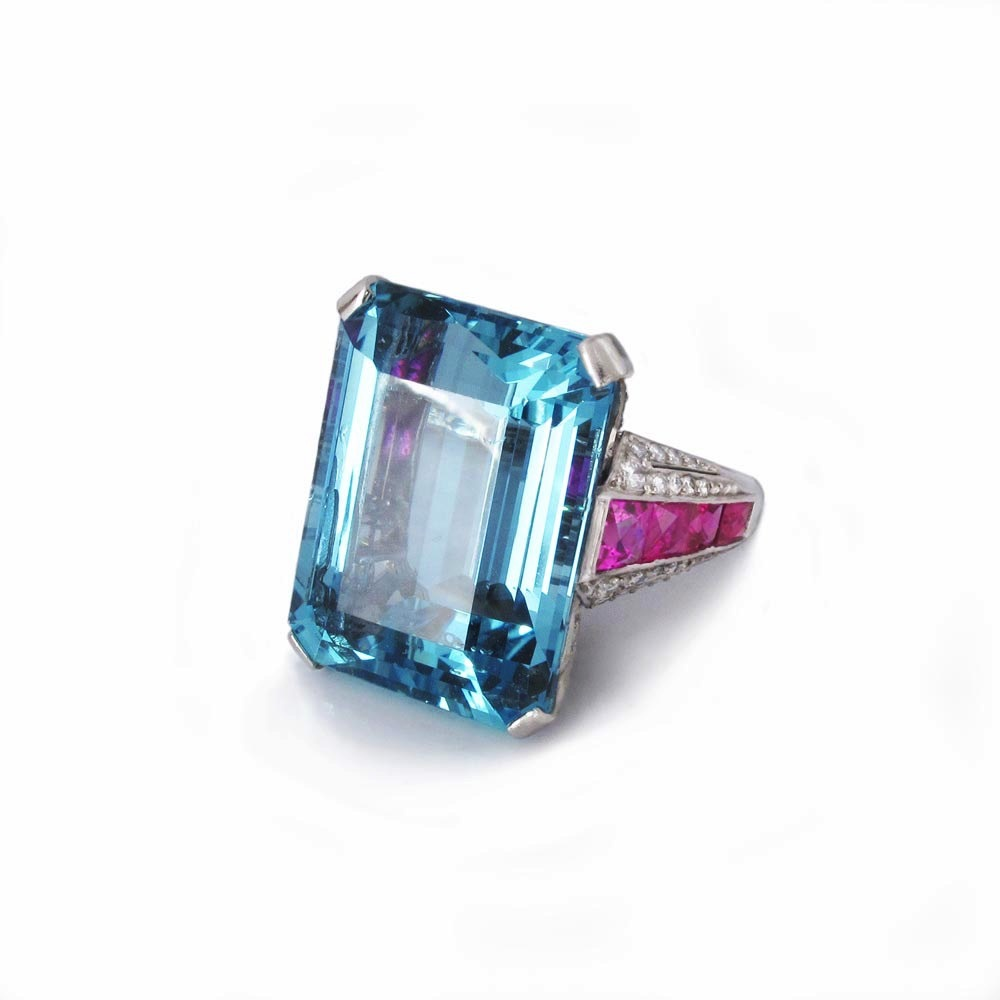 SOLD - A Platinum, Aquamarine, Ruby and Diamond Ring