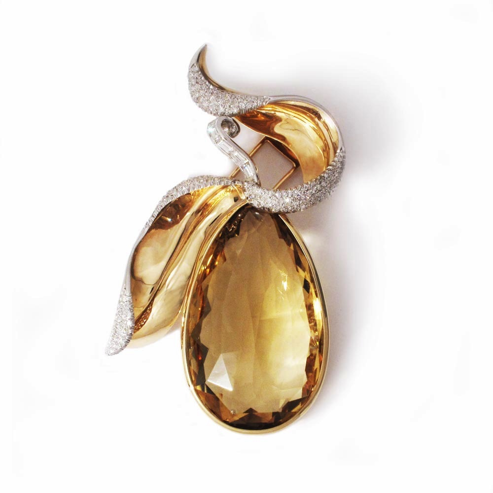 SOLD - An American Citrine and Diamond Pear Brooch