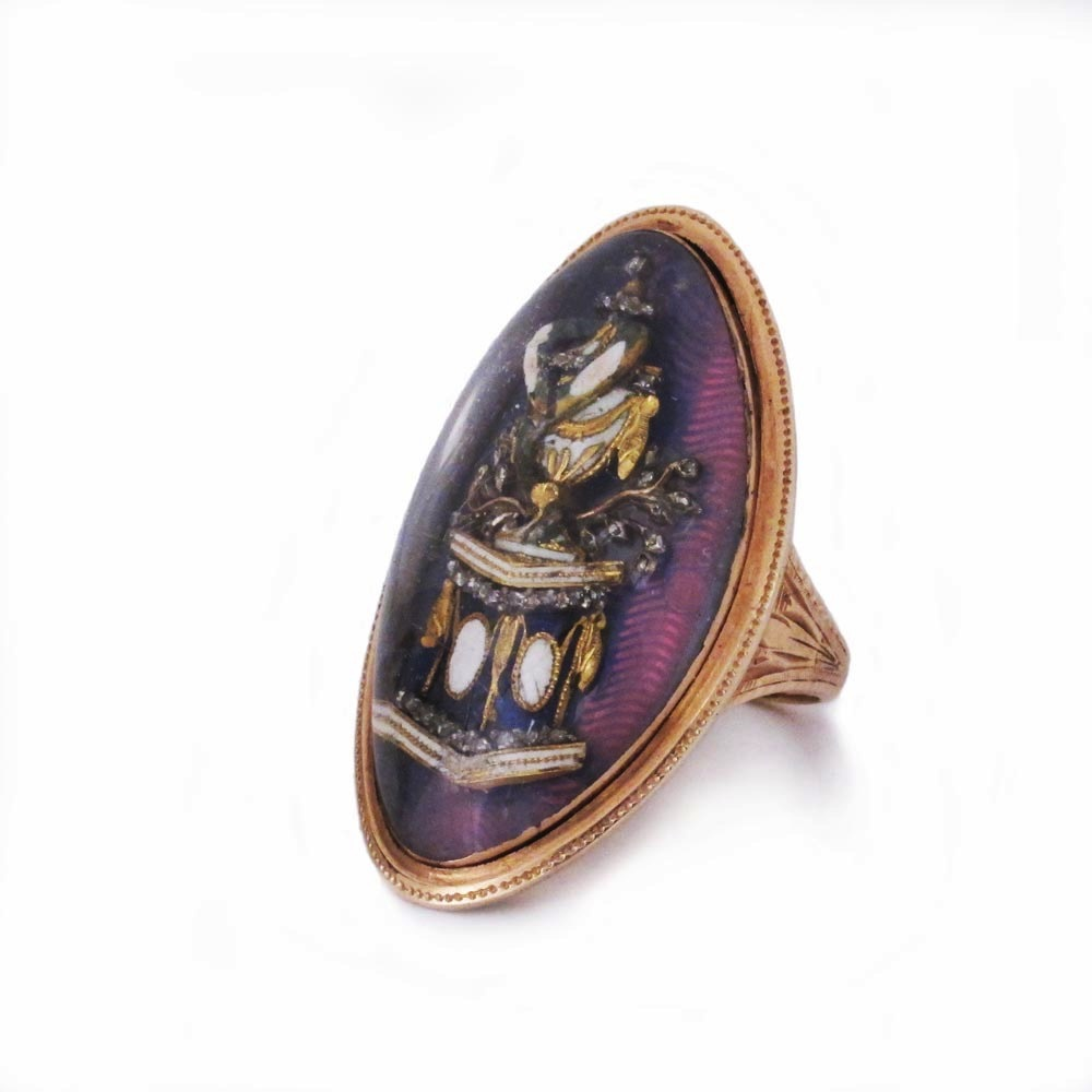 SOLD - An Antique Gold and Enamel Mourning Ring