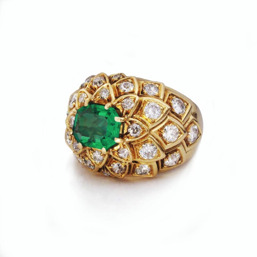 SOLD - A French Estate Emerald and Diamond Ring