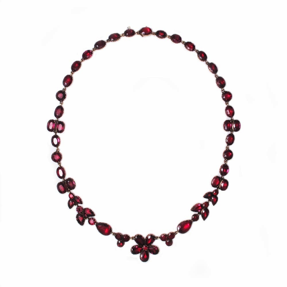 SOLD - A Georgian Antique English Garnet Necklace