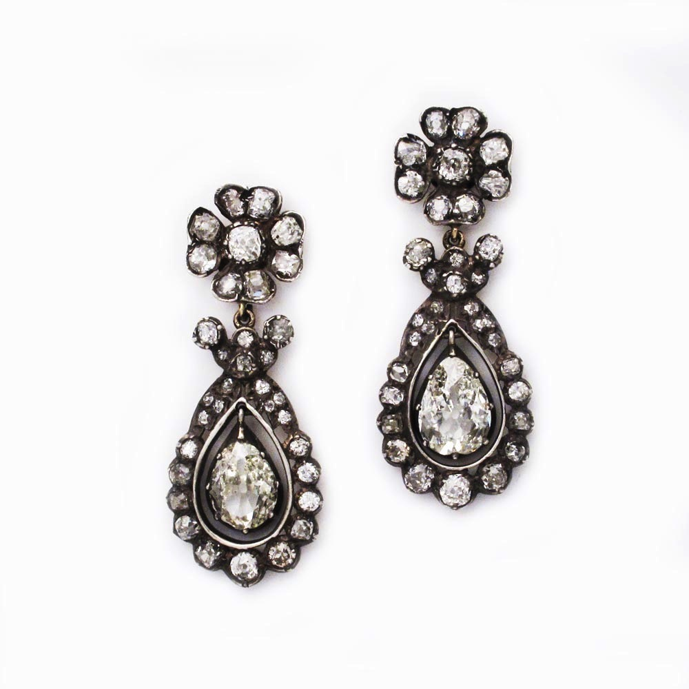 SOLD - A Pair of Victorian Diamond Earrings
